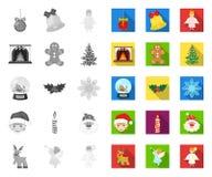 Атрибуты рождества и аксессуары mono, плоские значки в установленном собрании для дизайна Запас символа вектора веселого рождеств бесплатная иллюстрация