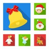 Атрибуты рождества и значки аксессуаров плоские в собрании комплекта для дизайна С Рождеством Христовым сеть запаса символа векто бесплатная иллюстрация