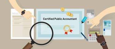Аттестованная бумага независимого бухгалтера CPA на таблице Концепция дела аттестации образования бухгалтера Стоковое фото RF
