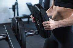Атлетический кладя вес на гантели в спортзале Стоковые Изображения RF