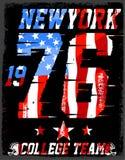 атлетический dept Печать и университетская спортивная команда вектора спорта университетской спортивной команды Нью-Йорка иллюстрация штока