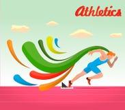 атлетических Спортсмен бежит 100 метров Стоковая Фотография RF