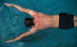 Атлетическое заплывание человека в бассейне стоковая фотография