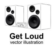 Аудиосистема, музыкальный центр чертежа руки на белых, реалистических дикторах vector иллюстрация Стоковое Фото