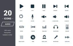Аудио набор значков контролей Наградное качественное собрание символа Аудио значок контролей установил простые элементы Подготавл бесплатная иллюстрация