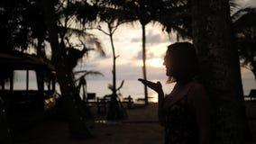 Аудио опознавание голоса ai сообщения на силуэте речи смартфона хэндс-фри Применение пользы женщины по телефону  акции видеоматериалы