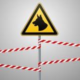 Аукцион - опасность отдавать собак область защищена собаками Безопасность предупредительного знака Знак на поляке и предупреждающ бесплатная иллюстрация