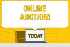 Аукцион текста сочинительства слова онлайн Концепция дела для процесса покупки и продажи товаров или обслуживания онлайн прикрыва бесплатная иллюстрация