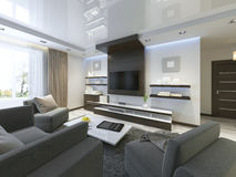 Аудиосистема с ТВ и полки в сверстнице живущей комнаты стоковое изображение rf