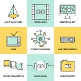 Аудио и изобразительное искусство конструируют плоские значки Стоковые Изображения RF
