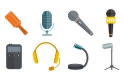 Аудио радиоэфира голоса выставки инструмента сети ТВ музыки интервью вектора микрофона изолированная значком студия в реальном ма Стоковая Фотография