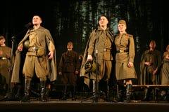 Аудитория музыкального спектакля - пенсионеры, пожилые ветераны Второй Мировой Войны и их родственники Стоковые Изображения