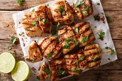 Афганский цыпленок skewers конец-вверх Kebab e Murgh на бумаге горизонт Стоковая Фотография RF