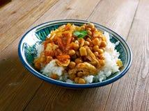 Афганское блюдо с цыпленком, нутами Стоковое Изображение RF