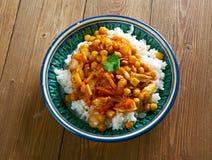 Афганское блюдо с цыпленком, нутами Стоковое Фото
