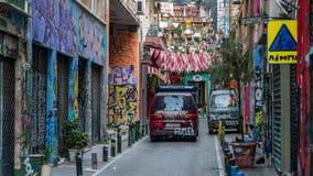 Афины Греция 17-ое августа 2018: Граффити на улице стоковые фотографии rf