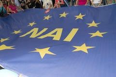 Афины, Греция, 30-ое июня 2015 Греческие люди продемонстрировали против правительства о предстоящем референдуме Стоковая Фотография