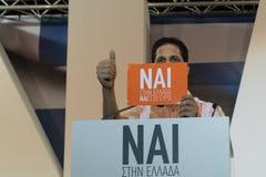 Афины, Греция, 3-ье июля 2015 Мэр Афин, греческие знаменитости и местное demonstrarte людей о предстоящем референдуме Стоковая Фотография