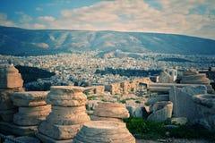 Афины увиденные от акрополя Стоковое Фото