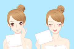 Афиша владением женщины заботы кожи Стоковые Изображения RF