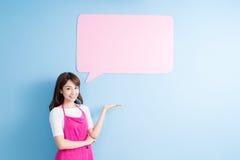 Афиша пузыря речи взятия домохозяйки Стоковое Изображение RF
