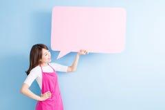 Афиша пузыря речи взятия домохозяйки Стоковое Фото