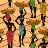 Африканская безшовная картина уличных торговцев иллюстрация вектора