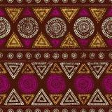 Африканская безшовная печать Текстура Grunge Винтажный орнамент соплеменно иллюстрация штока