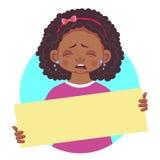 Африканская девушка держа пустой плакат-выкрик Стоковые Фото