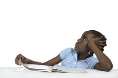 Африканская девушка думая, космос бесплатной копии Стоковые Фото