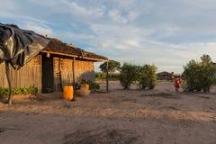 Африканская деревня с заходом солнца anisette Стоковое Фото