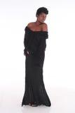 Африканская женщина в черном платье Стоковая Фотография