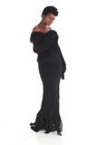 Африканская женщина в черном платье Стоковые Изображения