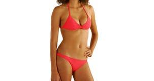 Африканская женщина в swimwear стоя на copyspace Стоковое Фото