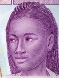 Африканская женщина, портрет от центрально-африканских денег стоковое изображение rf