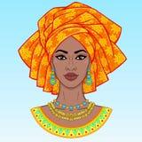 африканская красотка Портрет анимации молодой чернокожей женщины в тюрбане бесплатная иллюстрация