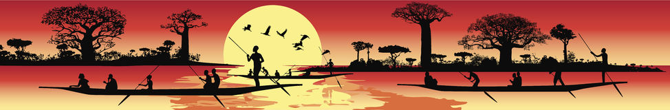 Африканская панорамная береговая линия ландшафта с канями Стоковая Фотография RF