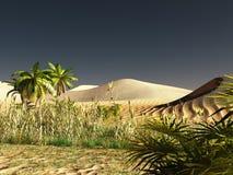 Африканская саванна с обильным и излучающим переводом вегетации 3d иллюстрация штока