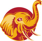 африканская сердитая головка слона ретро иллюстрация штока