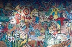 Африканская этническая картина на стене в Мозамбике стоковое изображение