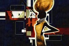 Африканская этническая ретро винтажная иллюстрация Стоковые Изображения