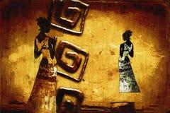 Африканская этническая ретро винтажная иллюстрация Стоковые Фото