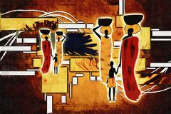 Африканская этническая ретро винтажная иллюстрация Стоковое Изображение
