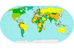 африканские азиатские материки детализировали мир карты европейца высоки также вектор иллюстрации притяжки corel Стоковые Фотографии RF