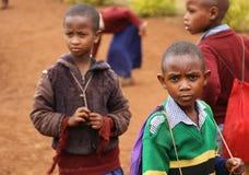 Африканские дети на школе, Танзании Стоковое Фото