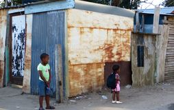 Африканские дети посёлка Стоковая Фотография