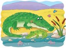 африканские животные Милые крокодилы иллюстрация детей стоковые фотографии rf