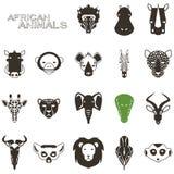 Африканские животные черные значки иллюстрация штока