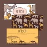 Африканские знамена с милыми животными иллюстрация вектора
