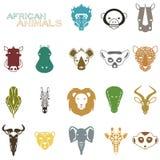 Африканские значки цвета животных иллюстрация штока